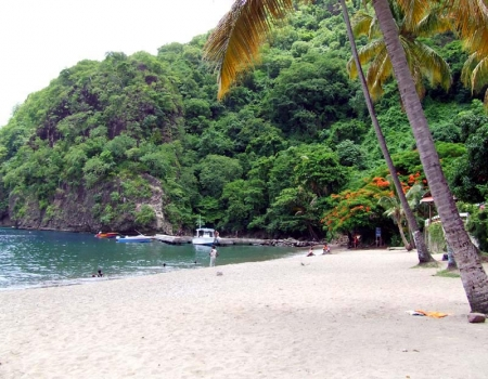 Hotel in fantastic landscape at Pitons-Beach